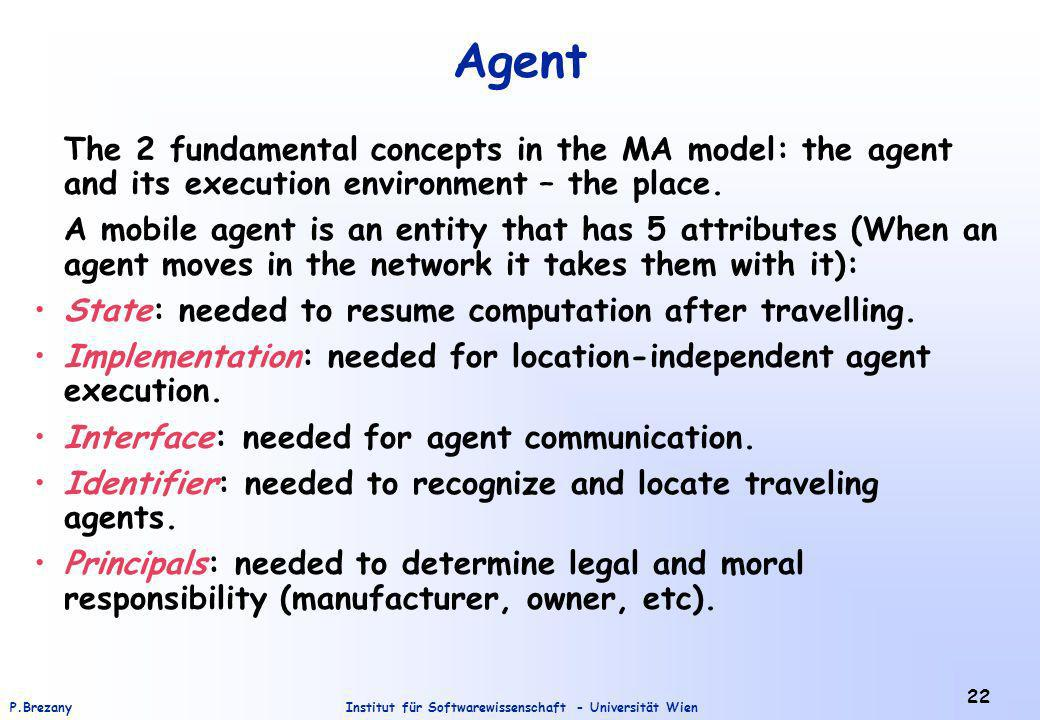 Institut für Softwarewissenschaft - Universität WienP.Brezany 22 Agent The 2 fundamental concepts in the MA model: the agent and its execution environment – the place.