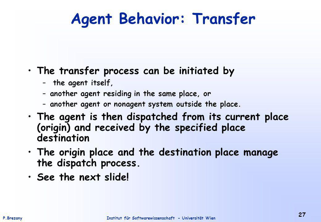 Institut für Softwarewissenschaft - Universität WienP.Brezany 27 Agent Behavior: Transfer The transfer process can be initiated by – the agent itself, –another agent residing in the same place, or –another agent or nonagent system outside the place.