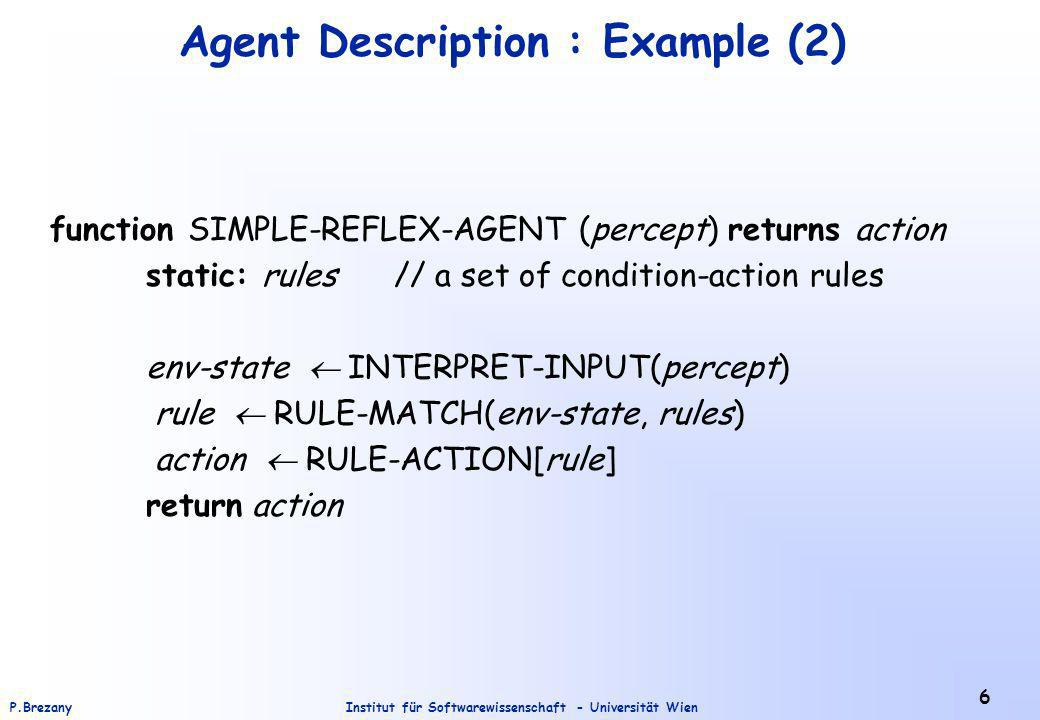 Institut für Softwarewissenschaft - Universität WienP.Brezany 6 Agent Description : Example (2) function SIMPLE-REFLEX-AGENT (percept) returns action static: rules // a set of condition-action rules env-state INTERPRET-INPUT(percept) rule RULE-MATCH(env-state, rules) action RULE-ACTION[rule] return action