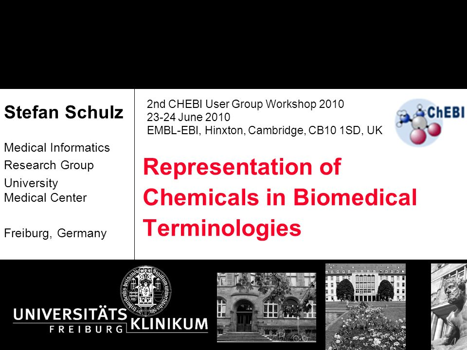 Representation of Chemicals in Biomedical Terminologies Stefan Schulz Medical Informatics Research Group University Medical Center Freiburg, Germany 2nd CHEBI User Group Workshop 2010 23-24 June 2010 EMBL-EBI, Hinxton, Cambridge, CB10 1SD, UK