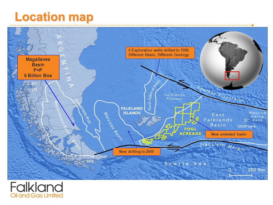 Location map Magallanes Basin P+P 6 Billion Boe 6 Exploration wells drilled in 1998.