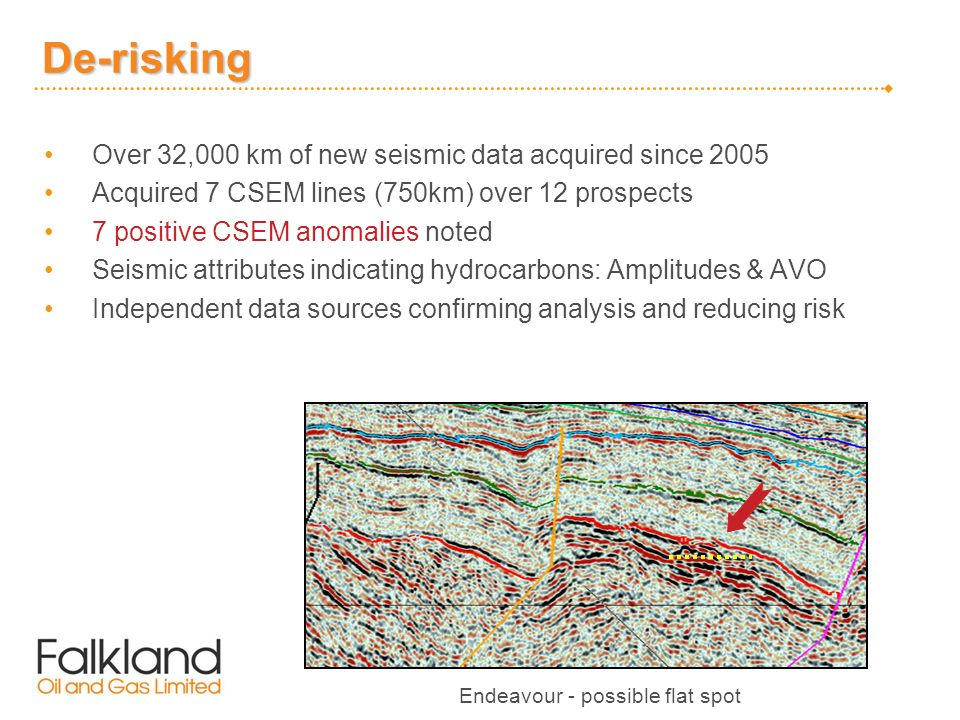 De-risking Over 32,000 km of new seismic data acquired since 2005 Acquired 7 CSEM lines (750km) over 12 prospects 7 positive CSEM anomalies noted Seismic attributes indicating hydrocarbons: Amplitudes & AVO Independent data sources confirming analysis and reducing risk Endeavour - possible flat spot