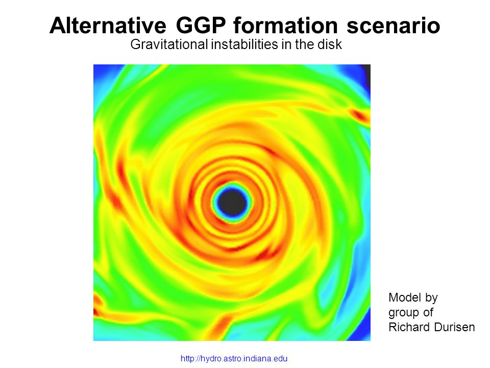 Alternative GGP formation scenario Gravitational instabilities in the disk Model by group of Richard Durisen http://hydro.astro.indiana.edu