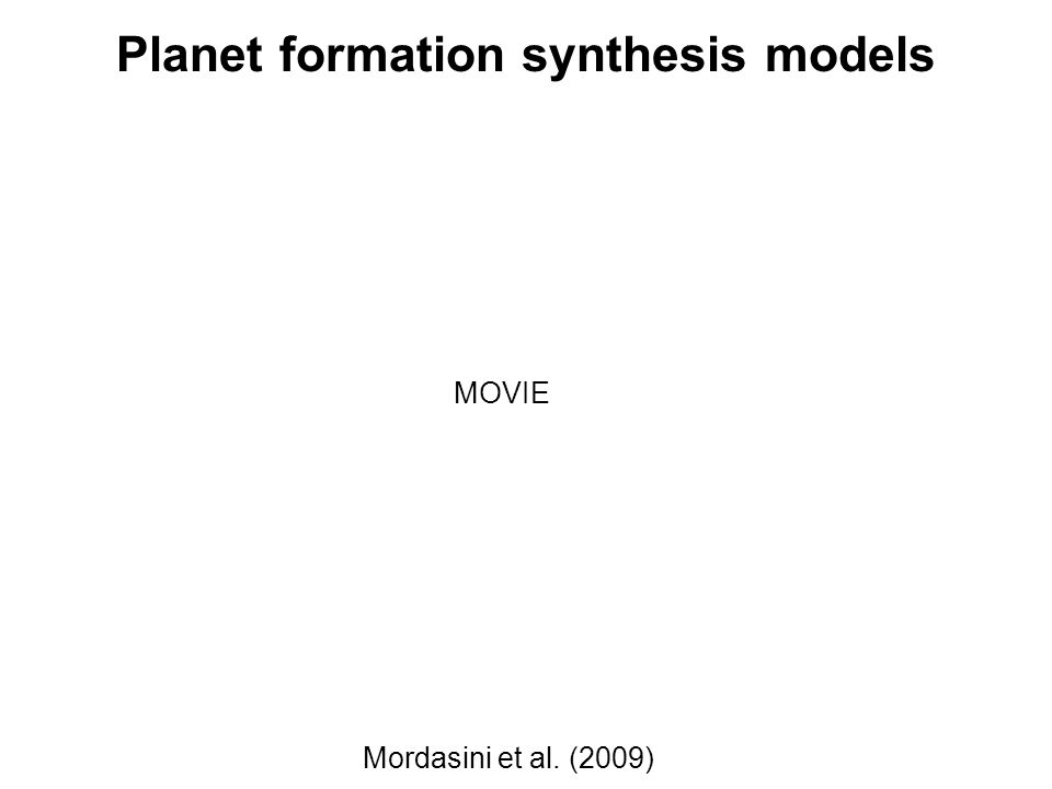 Planet formation synthesis models Mordasini et al. (2009) MOVIE