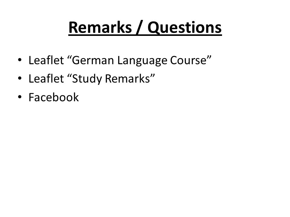 Remarks / Questions Leaflet German Language Course Leaflet Study Remarks Facebook