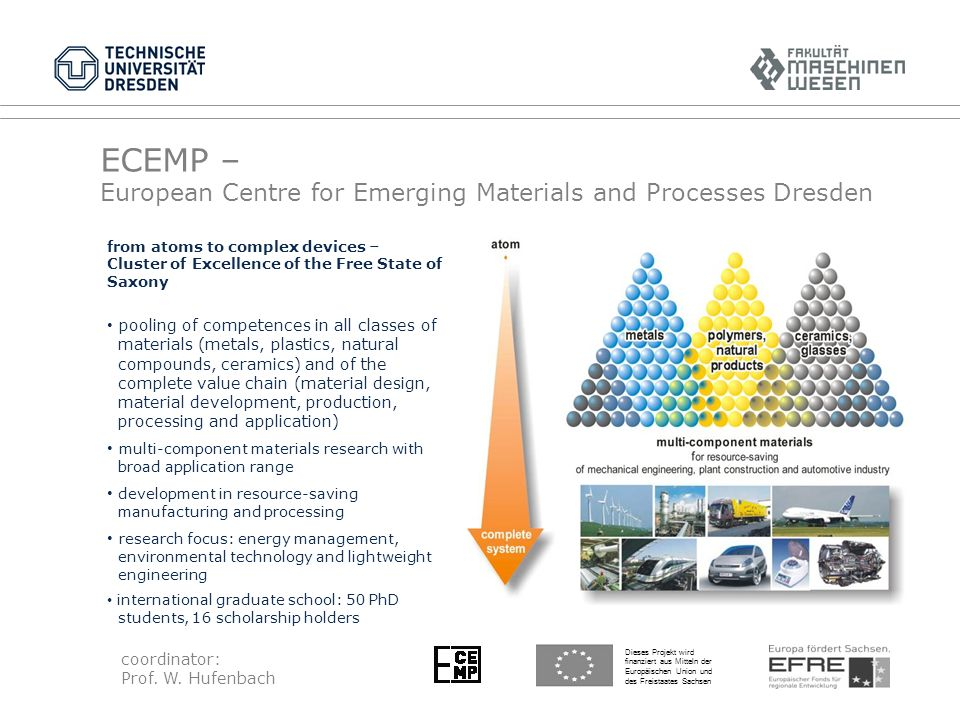 ECEMP – European Centre for Emerging Materials and Processes Dresden Dieses Projekt wird finanziert aus Mitteln der Europäischen Union und des Freistaates Sachsen from atoms to complex devices – Cluster of Excellence of the Free State of Saxony pooling of competences in all classes of materials (metals, plastics, natural compounds, ceramics) and of the complete value chain (material design, material development, production, processing and application) multi-component materials research with broad application range development in resource-saving manufacturing and processing research focus: energy management, environmental technology and lightweight engineering international graduate school: 50 PhD students, 16 scholarship holders coordinator: Prof.