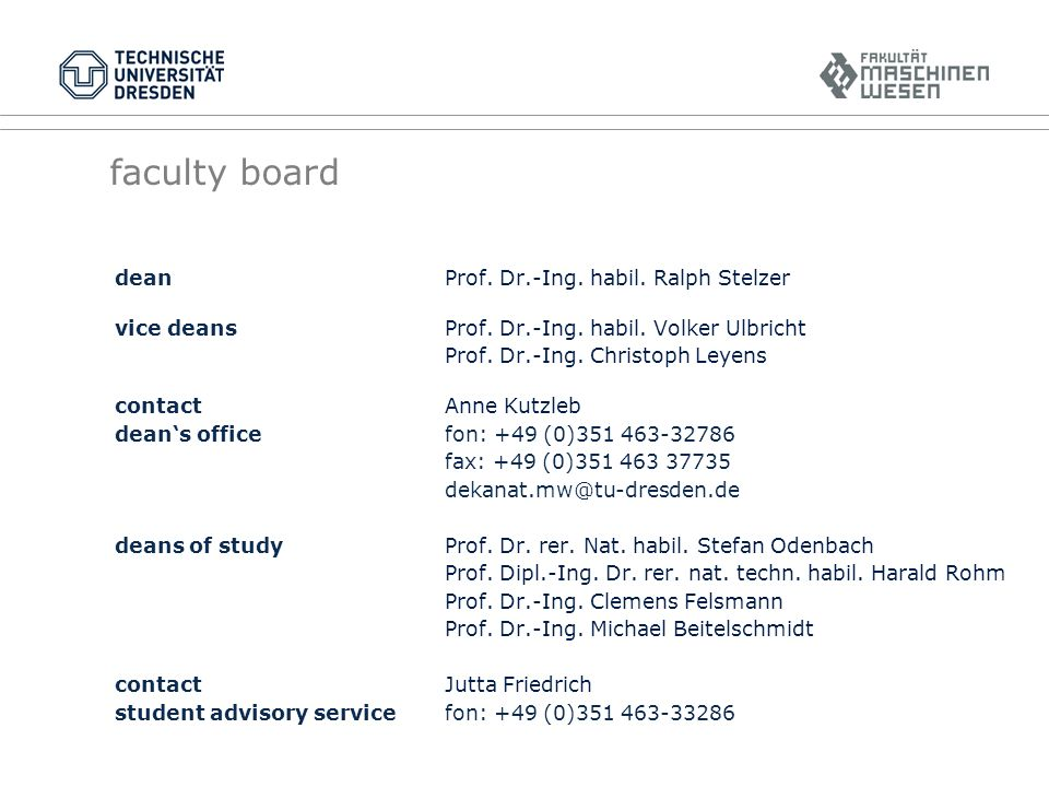 faculty board dean Prof. Dr.-Ing. habil. Ralph Stelzer vice deansProf.
