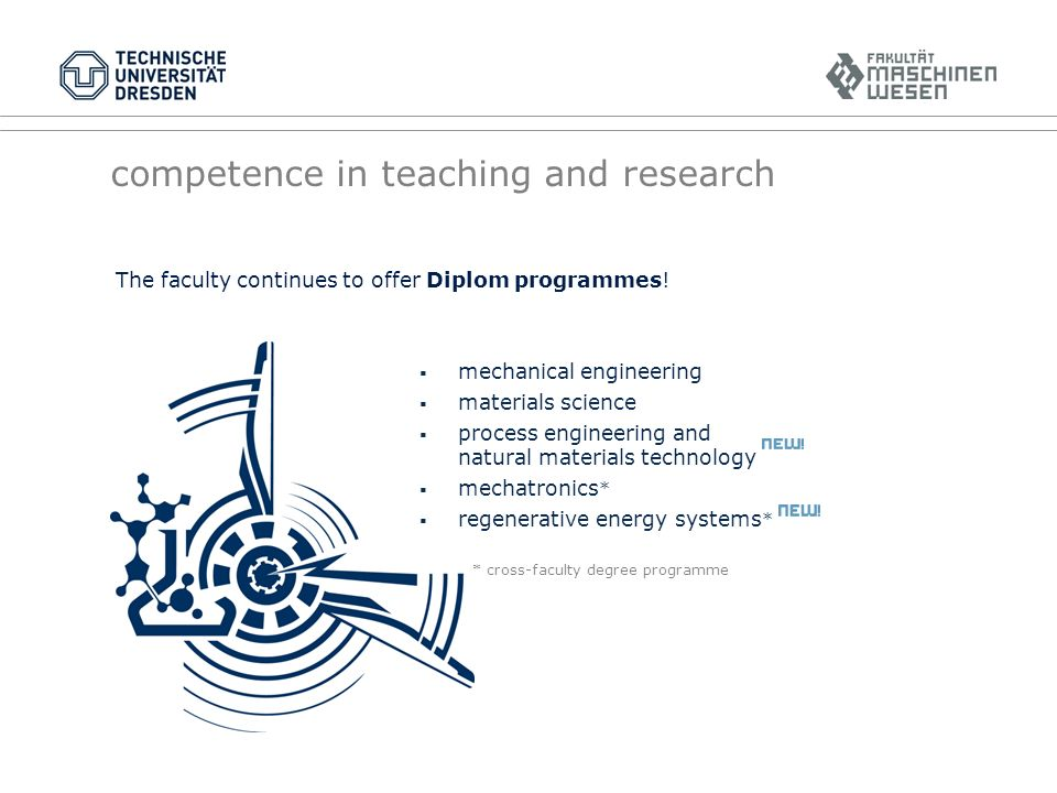 competence in teaching and research The faculty continues to offer Diplom programmes.