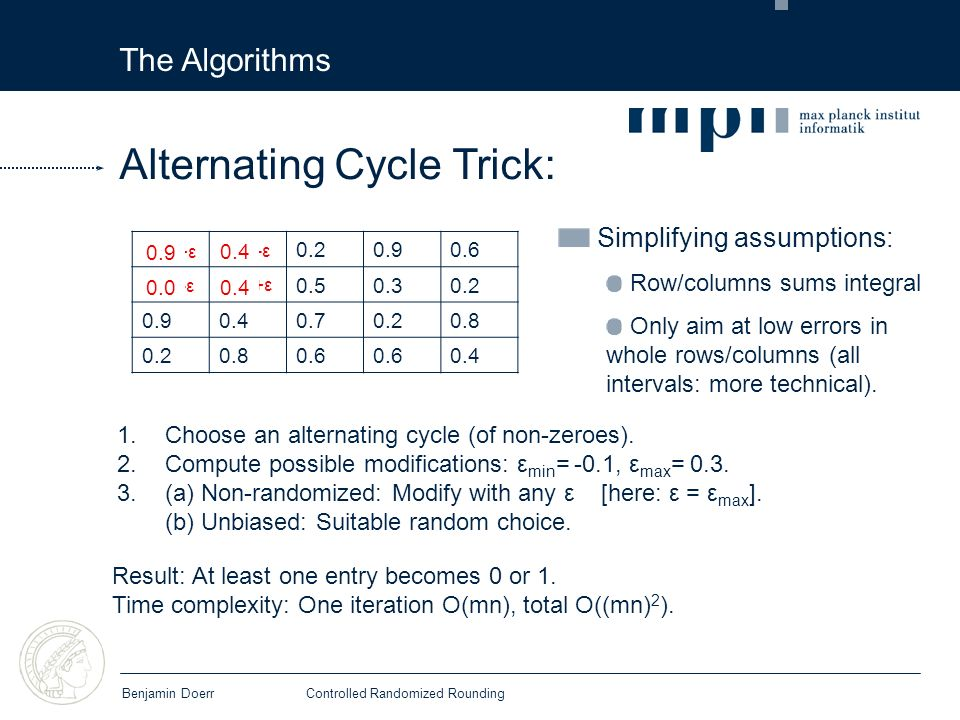 The Algorithms Benjamin DoerrControlled Randomized Rounding Simplifying assumptions: Row/columns sums integral Only aim at low errors in whole rows/columns (all intervals: more technical).