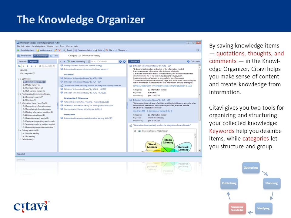 The Knowledge Organizer By saving knowledge items quotations, thoughts, and comments in the Knowl- edge Organizer, Citavi helps you make sense of content and create knowledge from information.