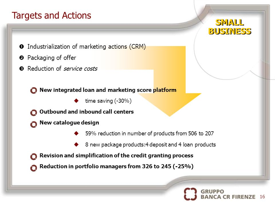 SMALL BUSINESS SMALL BUSINESS New integrated loan and marketing score platform utime saving (-30%) Outbound and inbound call centers New catalogue design u59% reduction in number of products from 506 to 207 u8 new package products:4 deposit and 4 loan products Revision and simplification of the credit granting process Reduction in portfolio managers from 326 to 245 (-25%) 16 Targets and Actions Industrialization of marketing actions (CRM) Packaging of offer Reduction of service costs