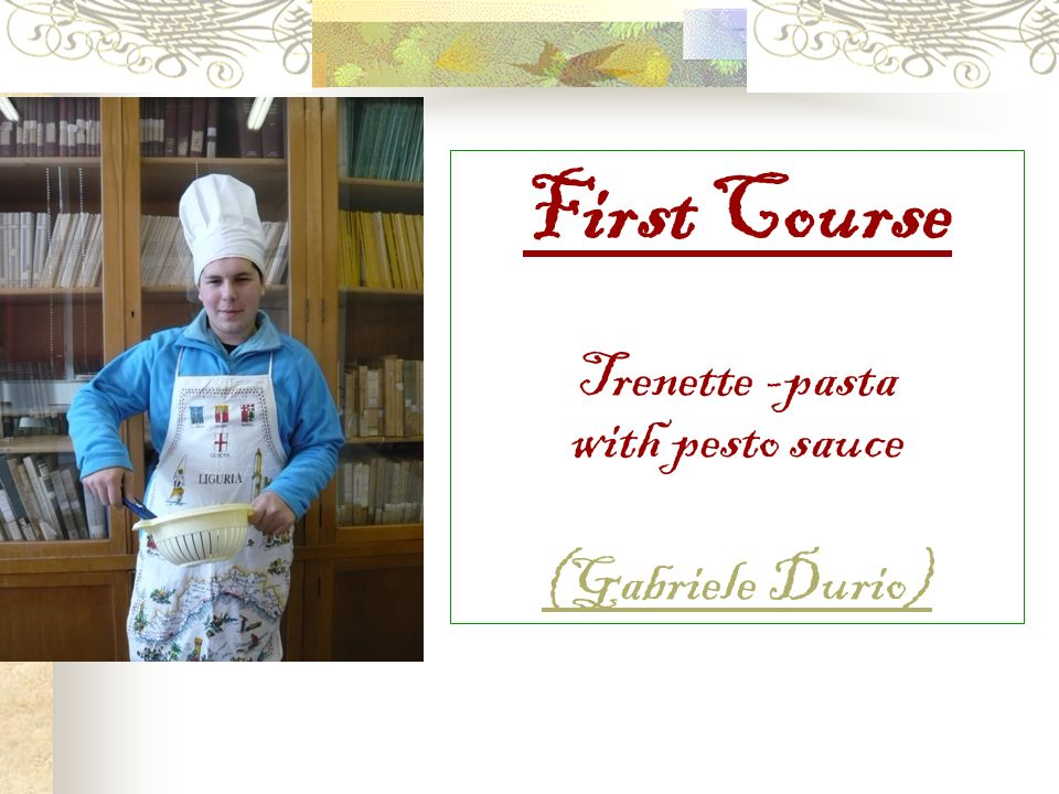 First Course Trenette -pasta with pesto sauce (Gabriele Durio)
