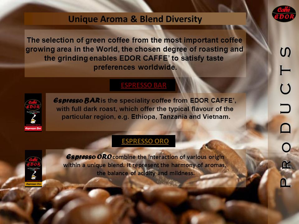 Unique Aroma & Blend Diversity P r o D U C T S Espresso BAR is the speciality coffee from EDOR CAFFE, with full dark roast, which offer the typical flavour of the particular region, e.g.