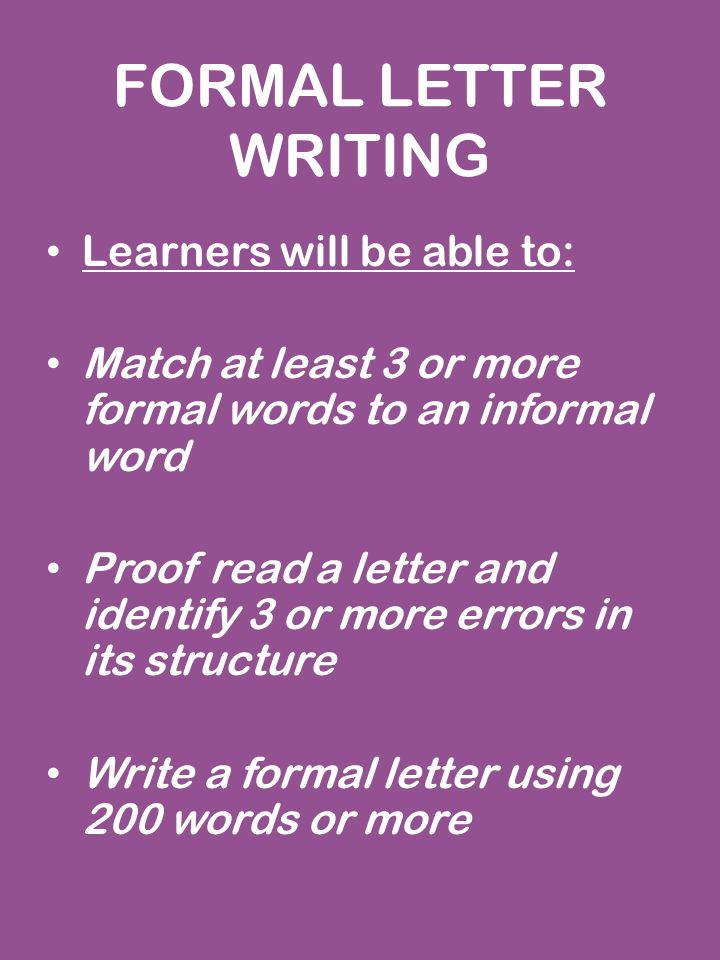 Formal letter writing learners will be able to match at least 3 or 1 formal letter writing spiritdancerdesigns Gallery