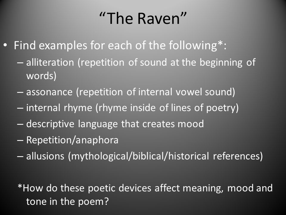 What are examples of assonance in the raven? | study. Com.