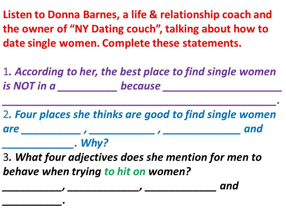 NY Dating coach Donna Barnes rencontres Altrincham