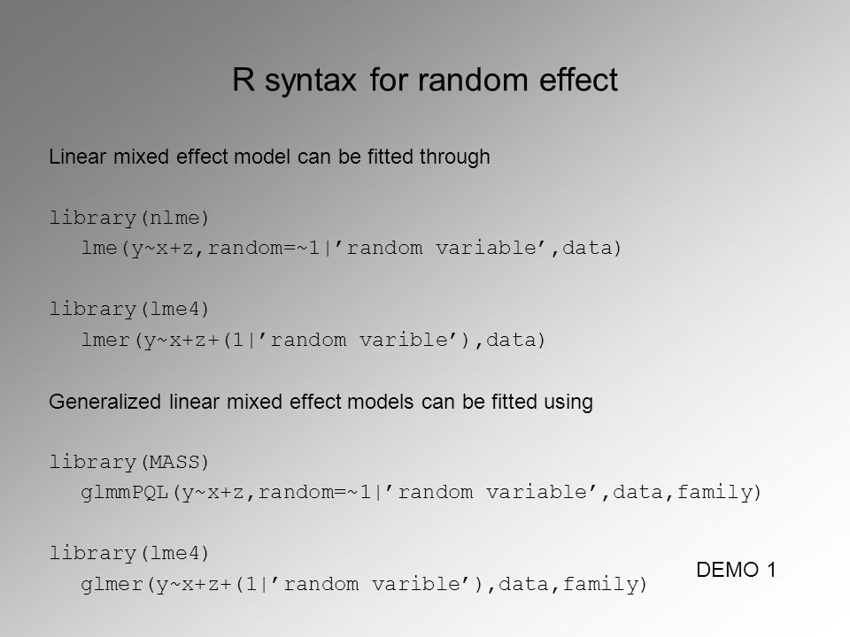 Statistics 3: mixed effect models Install R library lme4 to