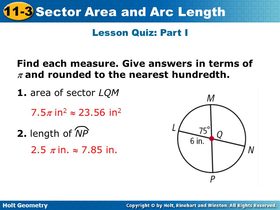 Holt Geometry 11 3 Sector Area And Arc Length 11 3 Sector
