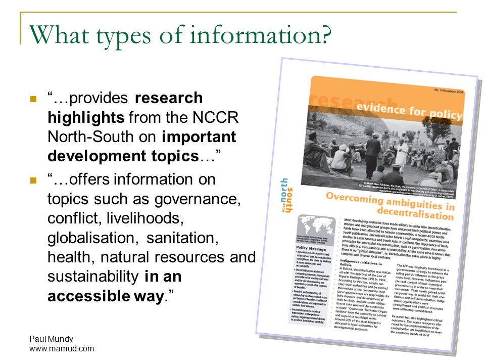 Paul Mundy Anatomy of an NCCR policy brief Research evidence for ...