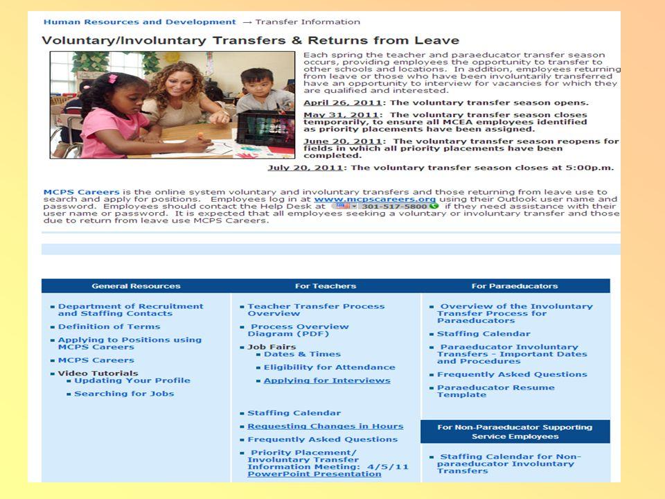Involuntary TransfersReturns from Leave For Involuntary