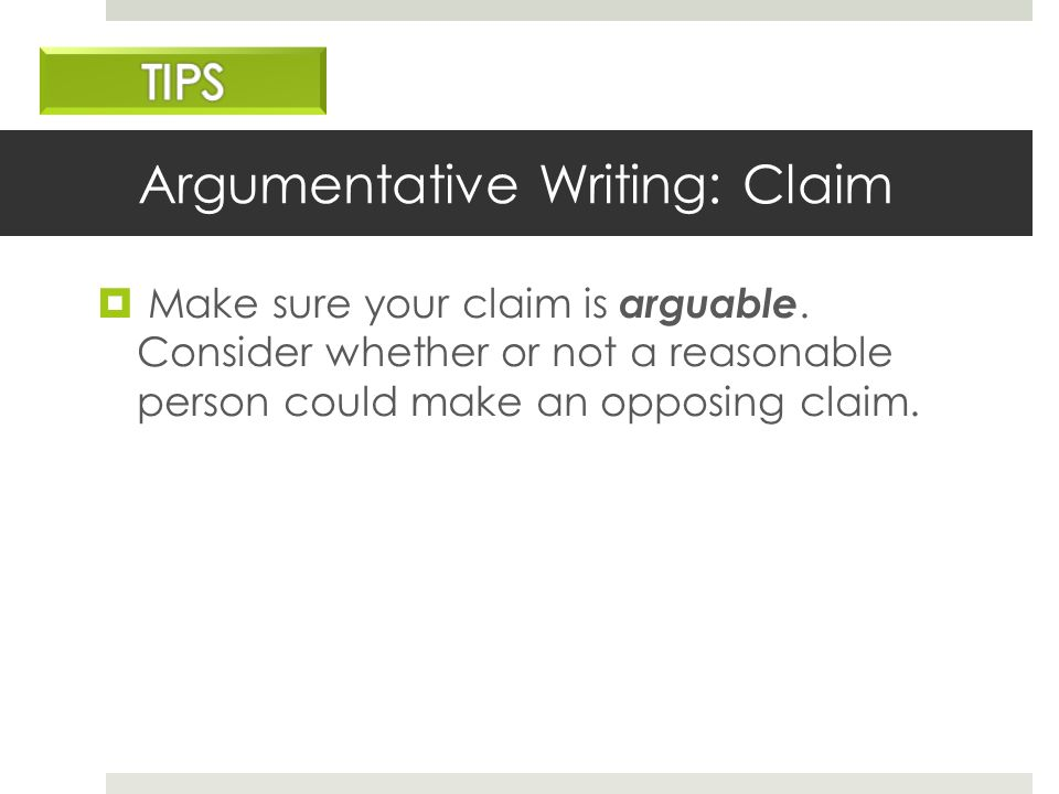what is an opposing claim in writing
