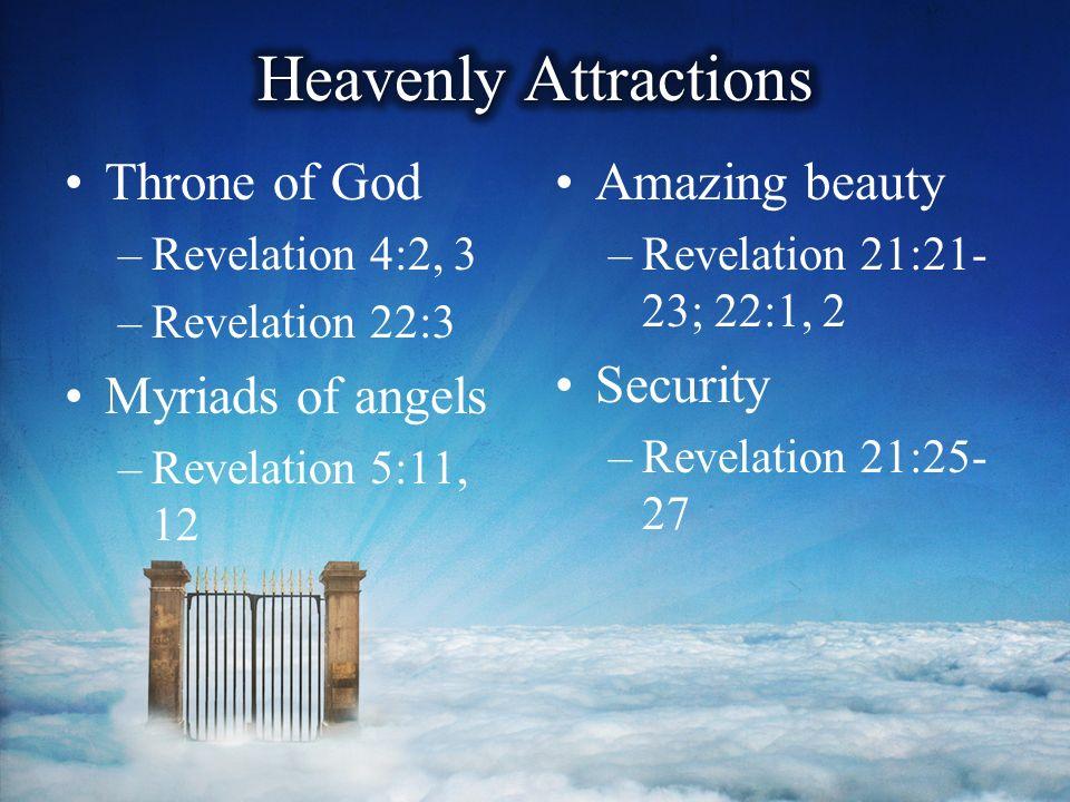 Part 2  Throne of God –Revelation 4:2, 3 –Revelation 22:3 Myriads of