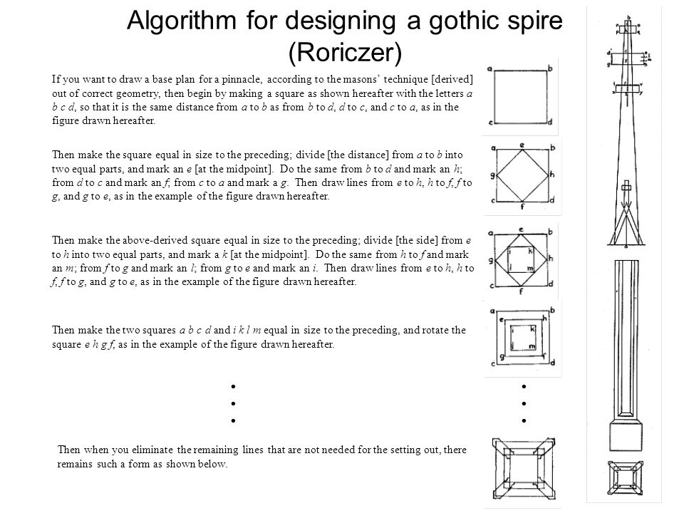 Algorithm for designing a gothic spire (Roriczer)  If you want to draw a base plan for a pinnacle, according to the masons' technique [derived] out of correct geometry, then begin by making a square as shown hereafter with the letters a b c d, so that it is the same distance from a to b as from b to d, d to c, and c to a, as in the figure drawn hereafter.
