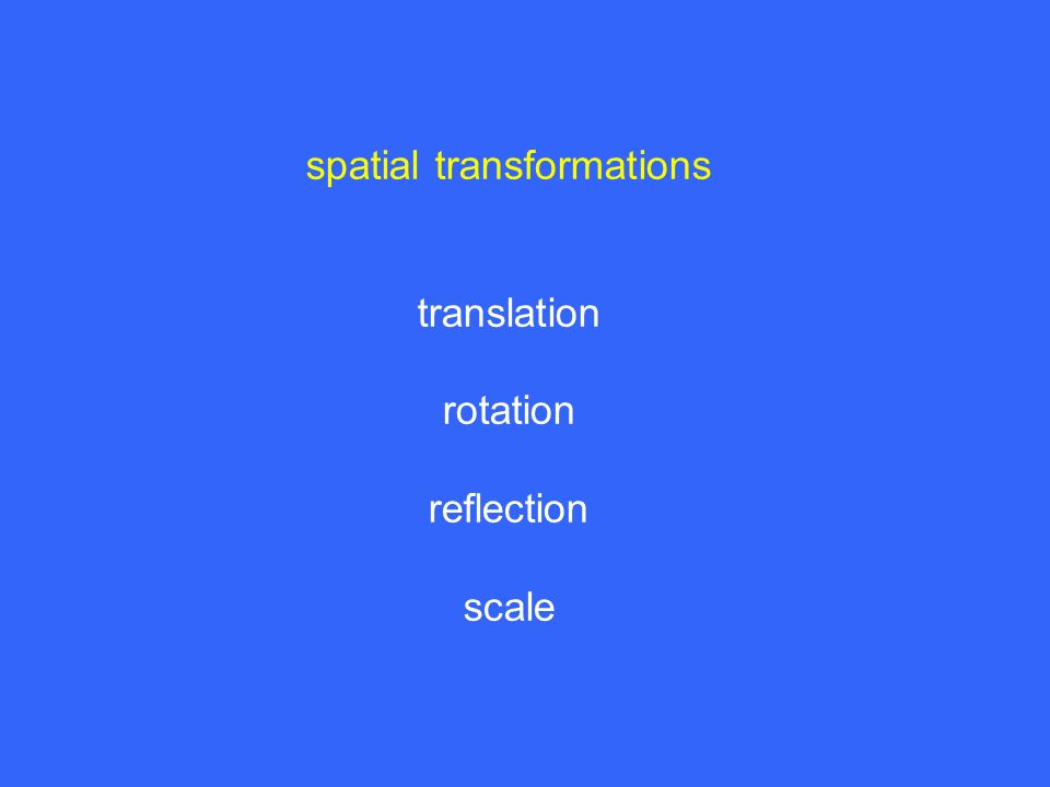 spatial transformations translation rotation reflection scale