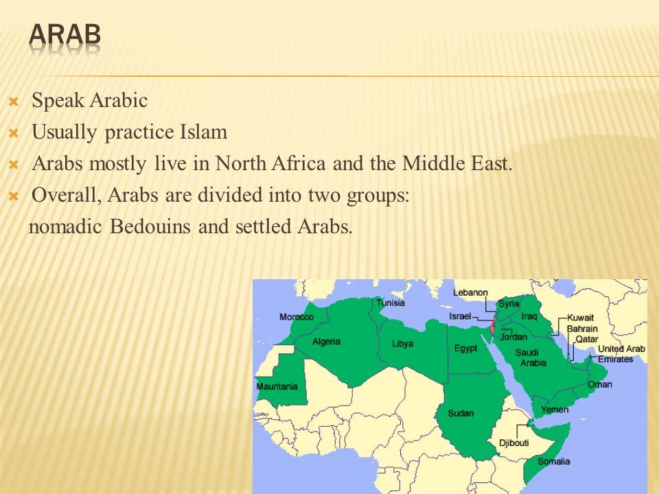 Arabs, Ashanti, Bantu, & Swahili   Africa is made up of 54