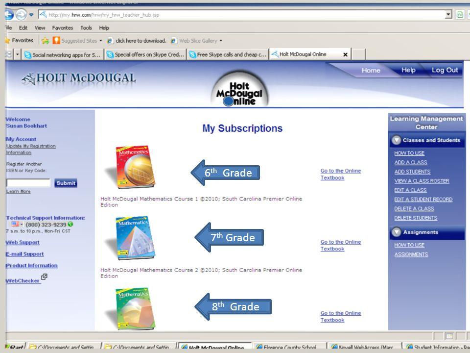 Online Math Book-6, 7, 8 grade Holt McDougal 2010 ***teacher