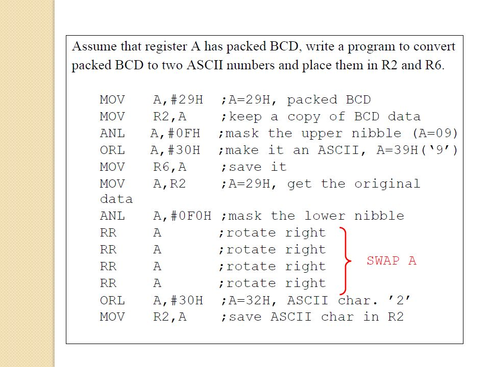 CHAPTER 6 ARITHMETIC, LOGIC INSTRUCTIONS, AND PROGRAMS