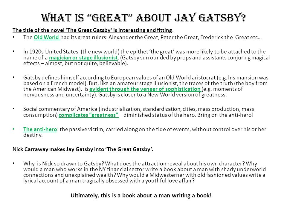 what is the meaning of the title the great gatsby
