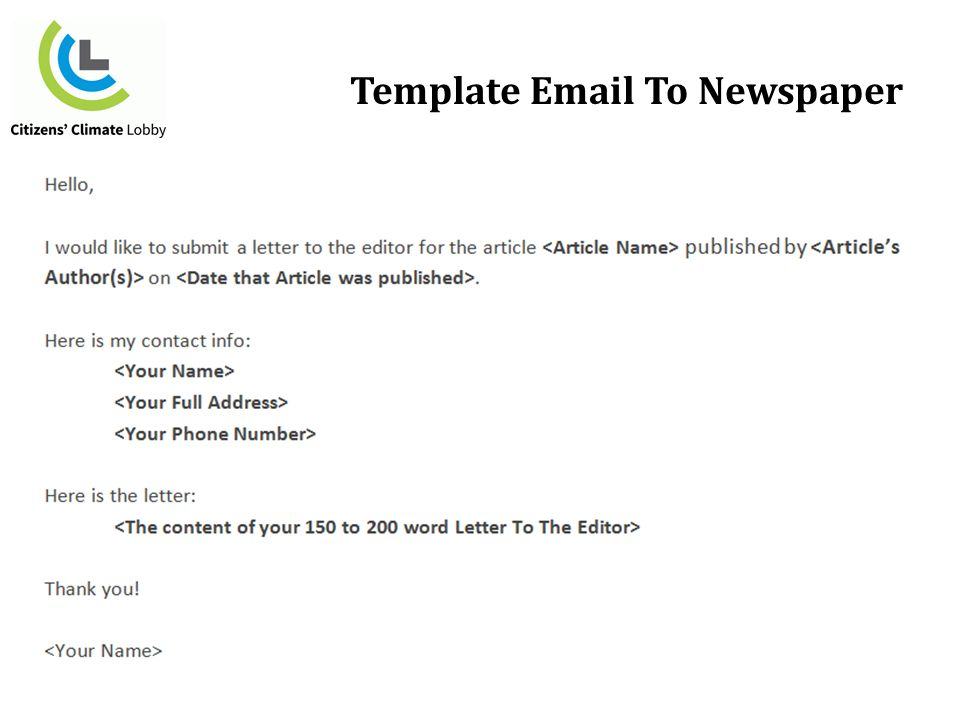 5 template email to newspaper