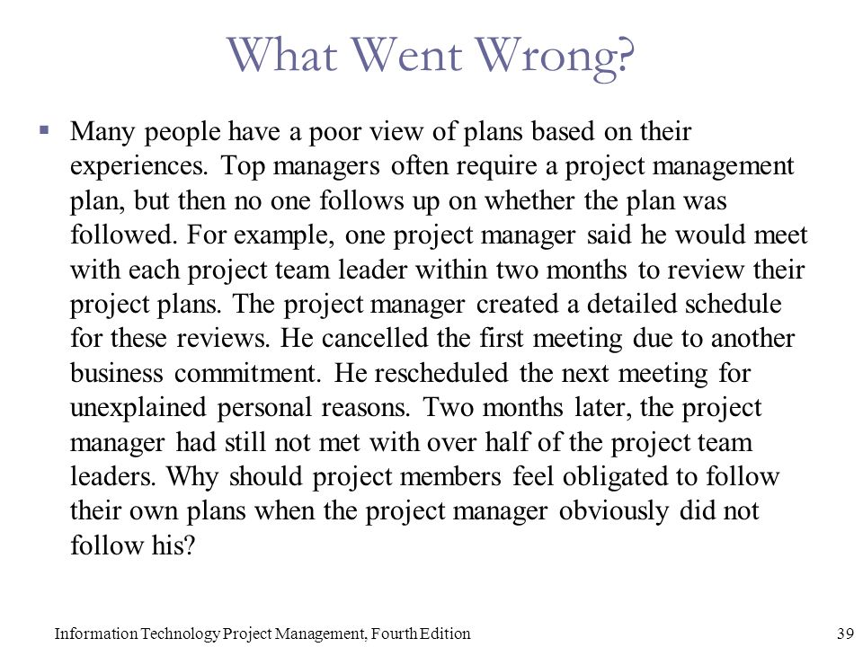 Chapter 4 Project Integration Management Information Technology