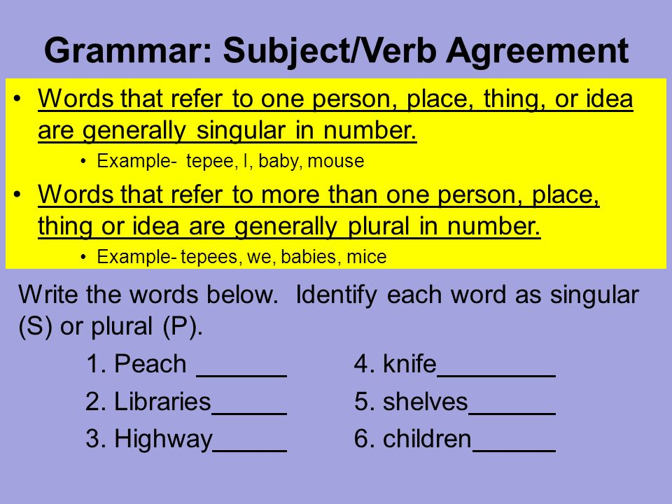 Grammar Subjectverb Agreement Words That Refer To One Person