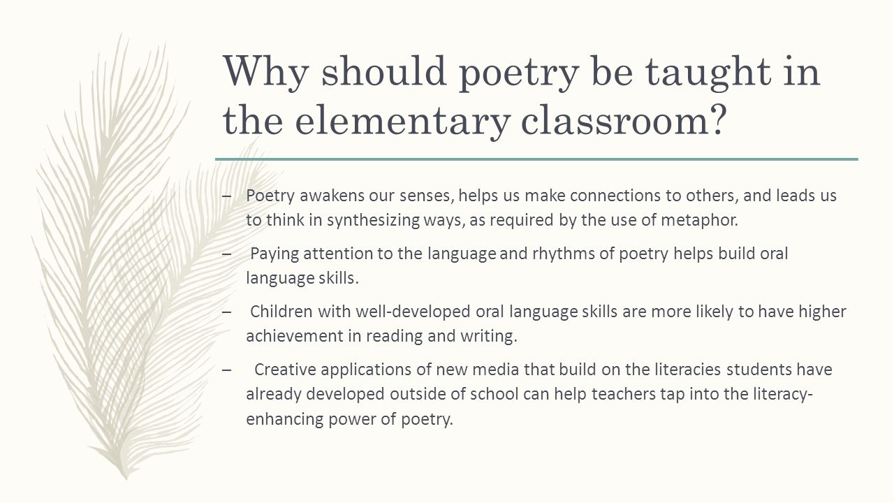 Teaching Poetry In The Elementary Classroom Moore Public Schools