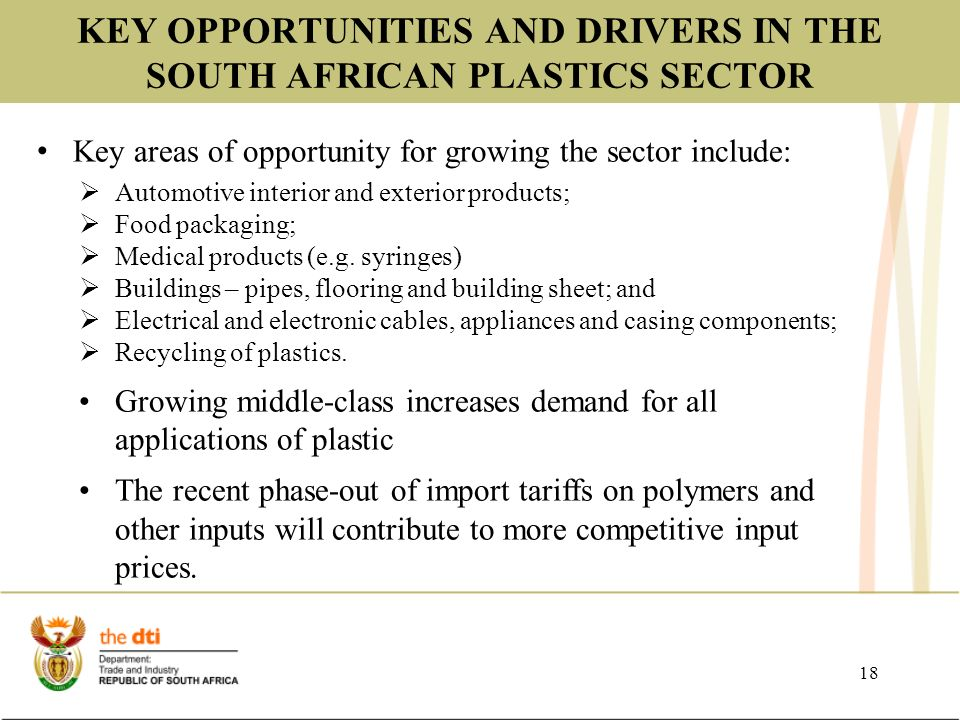 BRIEFING ON THE PROGRESS OF THE SOUTH AFRICAN PLASTICS SECTOR Claudy
