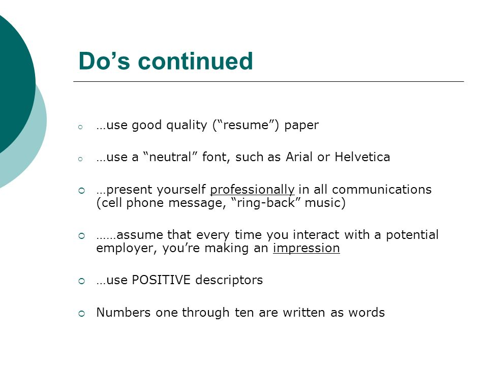 resume recommendations your ticket to the interview ppt download