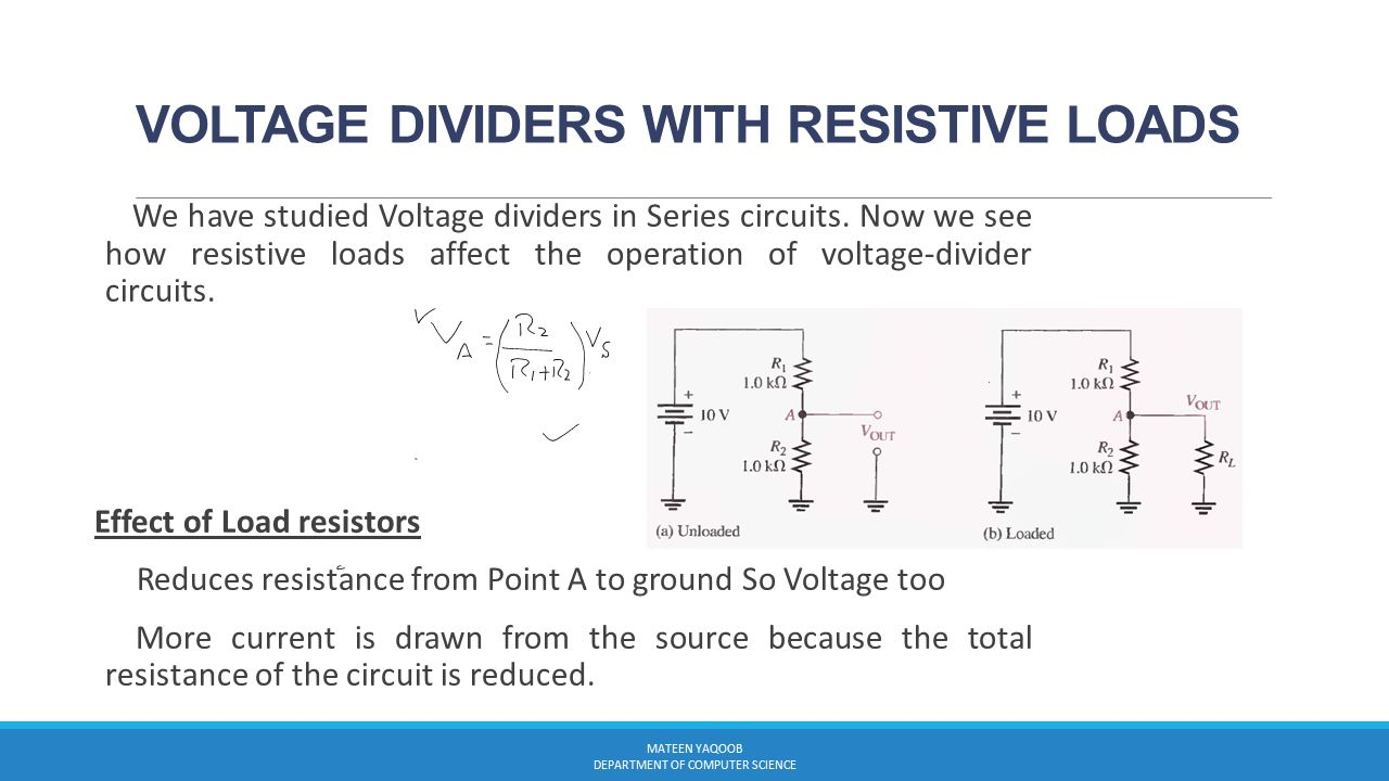Electromagnetism Lecture11 Part 1 Muhammad Mateen Yaqoob The Voltage Divider Circuit Dividers 12