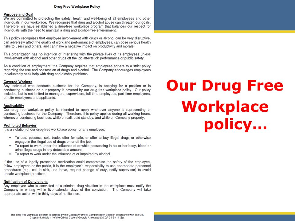 drugs at the workplace essay A recent survey showed that 10% of employees working full or part-time in the us workforce abuse drugs and alcohol there is also proof that 97 percent of americans smoke marijuana before going to work, according to jim reidy, a sheehan phinney bass and green in manchester, nh attorney.