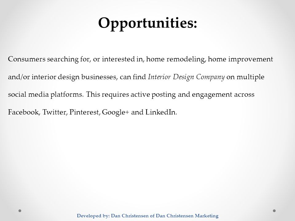 ... Dan Christensen Marketing Opportunities: Consumers Searching For, Or  Interested In, Home Remodeling, Home Improvement And/or Interior Design  Businesses, ...