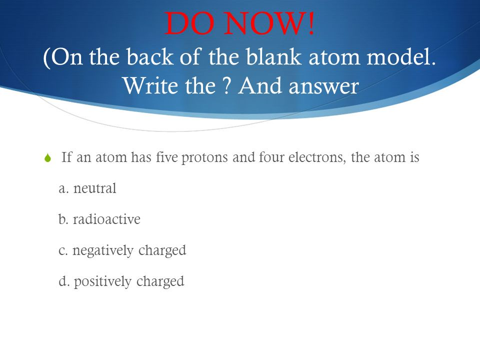 (On The Back Of The Blank Atom Model. Write The .