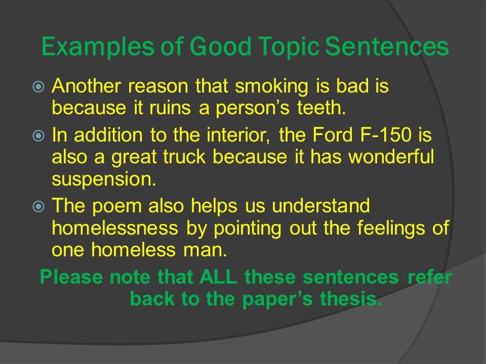 great topic sentences