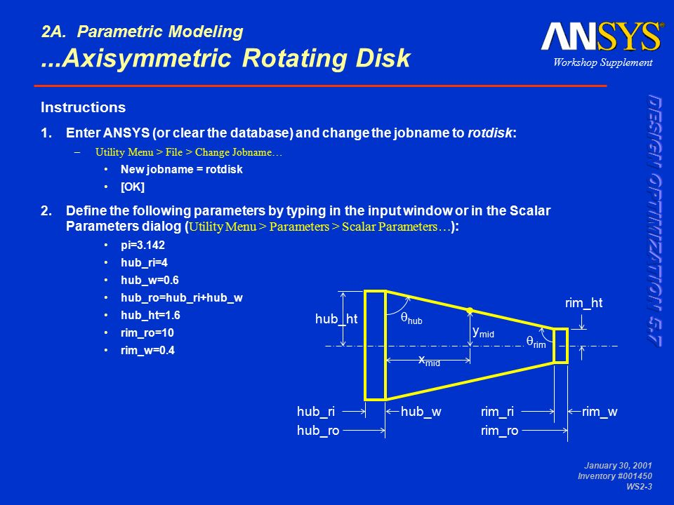 Axisymmetric Rotating Disk Workshop 2A Parametric Modeling