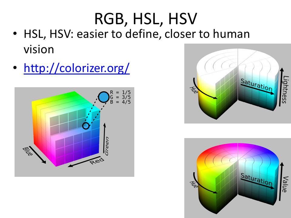 RGB, HSL, HSV HSL, HSV: easier to define, closer to human