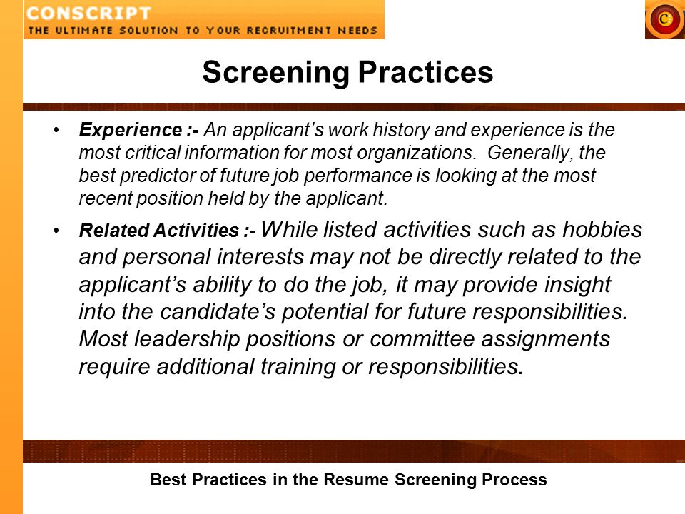 Best Practices In The Resume Screening Process Resume Screening