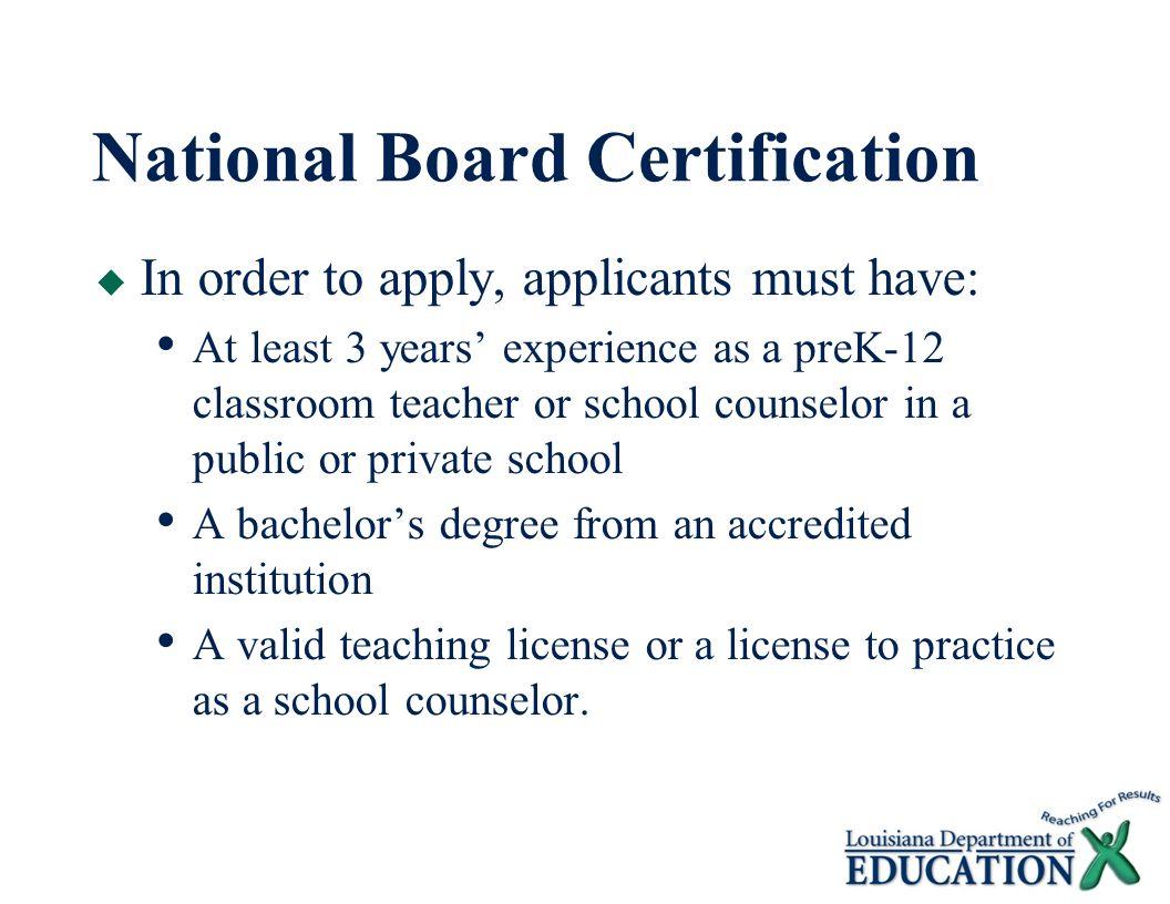 National Board Certification For Teachers Louisiana Initiative