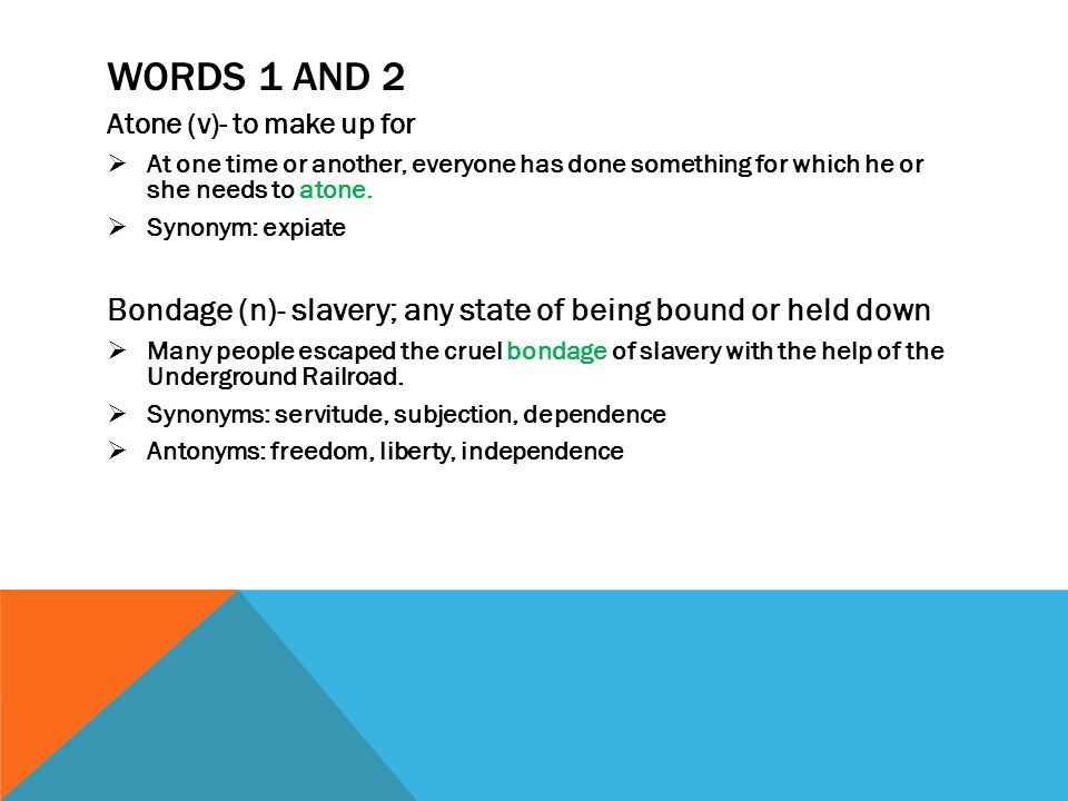 Vocab Level D Unit 6 Words Words 1 And 2 Atone V To Make Up For