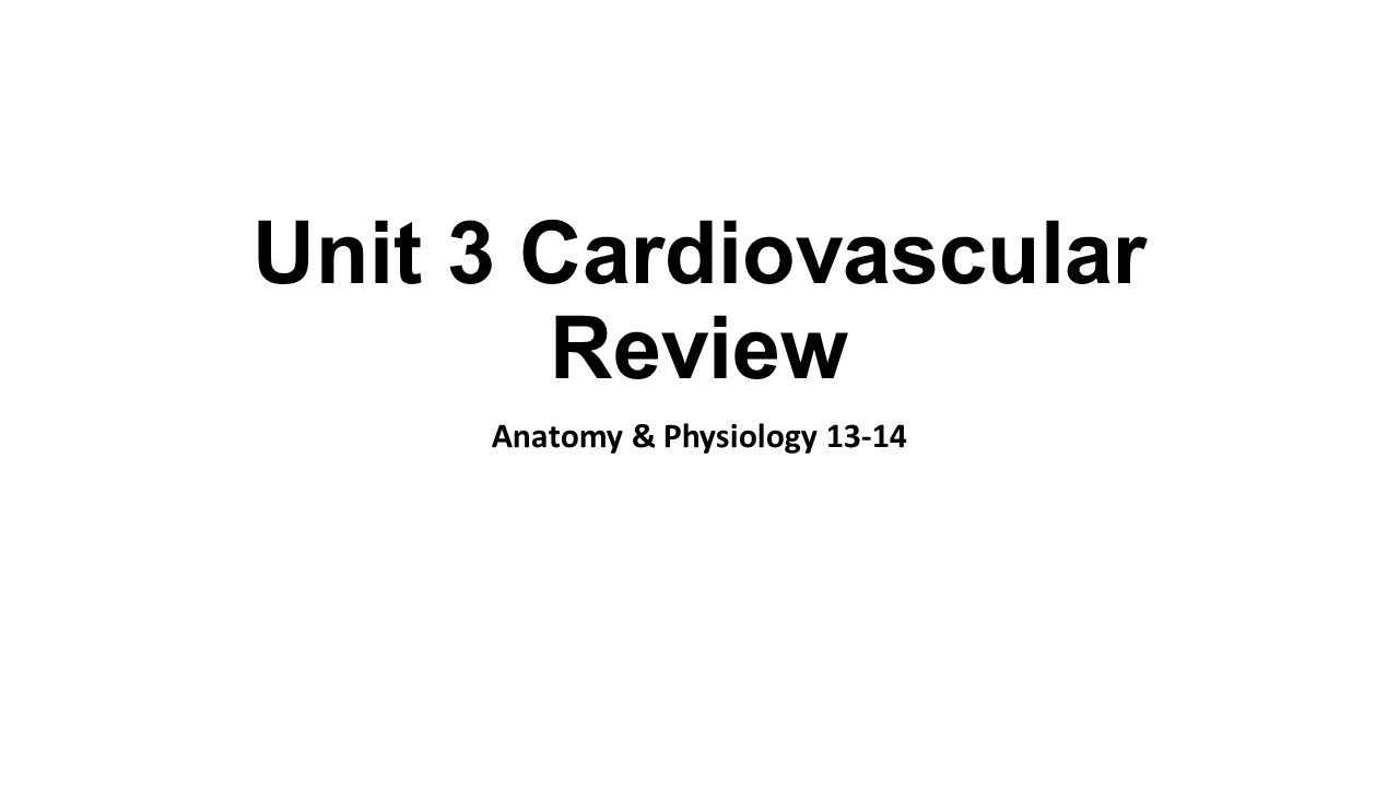 Unit 3 Cardiovascular Review Anatomy & Physiology ppt download