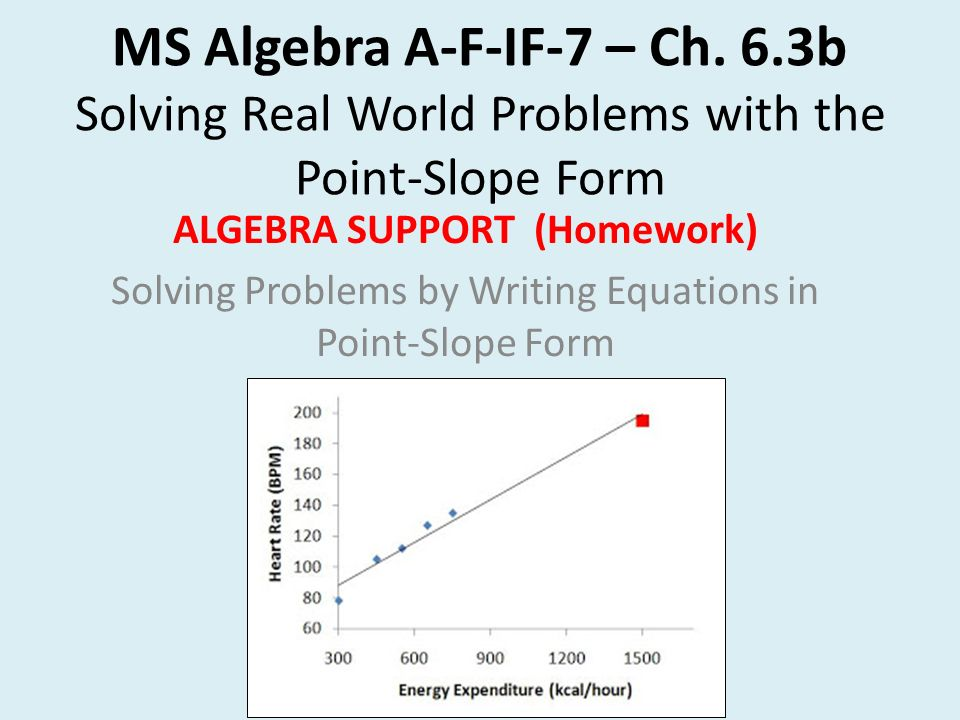 slope intercept form real world problems  MS Algebra A-F-IF-113 – Ch. 113.13b Solving Real World Problems ...